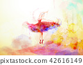 Elegant watercolor style ballerina 42616149
