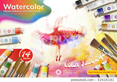 Watercolor paint set ads 42616181