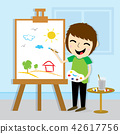 Boy Artist Drawing Cute Cartoon Vector Design 42617756