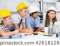 Children in helmet talking about building 42618128