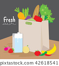 Bag Market Fruit Vegetable Cook Cartoon Vector 42618541