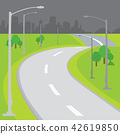 Roadway Blank Background Design Cartoon vector 42619850