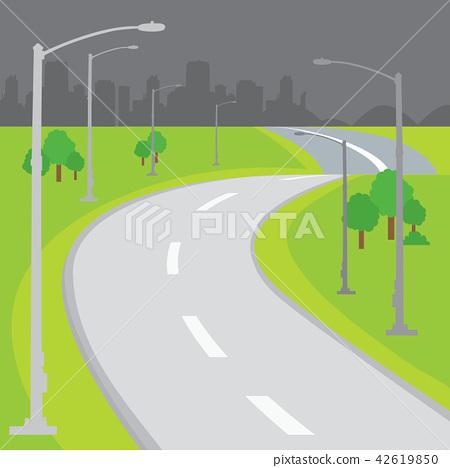 Roadway Blank Background Design Cartoon vector 42619850