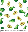 Seamless avocado pattern.Painted with watercolor. 42625022