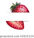 Strawberry paint with watercolor for your design. 42625224