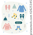 Winter cloth set in cartoon style 42625345