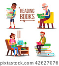 People Reading Books Vector. Big Stack Of Books. Education. Paper Book. Library. Man, Woman, Old Man 42627076