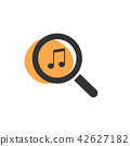Magnifying glass looking for music isolated icon 42627182