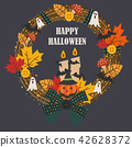Halloween wreath vector illustration cartoon style 42628372