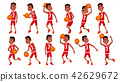 Basketball Player Child Set Vector. In Action. Leads, Playing With A Ball. Healthy Lifestyle 42629672