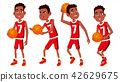 Basketball Player Child Set Vector. Different Poses. Leads The Ball. Sport Game Competition. Sport 42629675