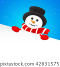Background with happy Snowman. Vector. 42631575