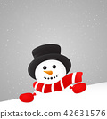 Background with happy Snowman. Vector. 42631576