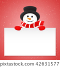 Background with happy Snowman. Vector. 42631577