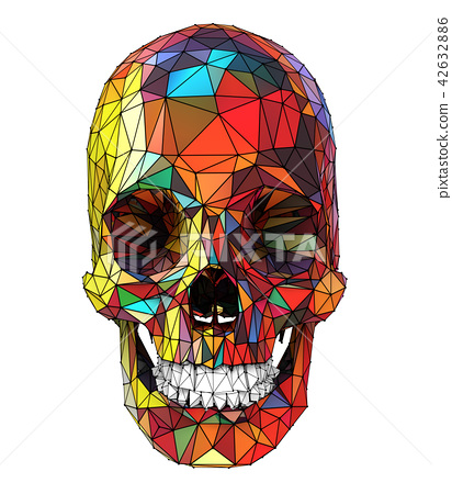 human skull with colorful low poly surface 42632886