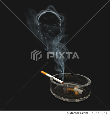 Ashtray with cigarette and skull inside smoke 42632964