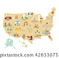 USA tourist vector map with famous landmarks 42633075