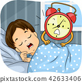 Kid Boy Sleep Alarm Clock Wake Up Illustration 42633406