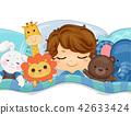 Kid Boy Sleep Stuffed Toys Illustration 42633424