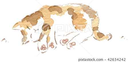 Illustration of a cat basking in the sun 42634242
