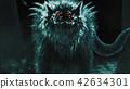 Alien wolf emerges from dark forest  42634301