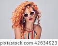 Fashion Portrait Sensual Redhead Woman on Purple 42634923