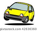 法國緊湊黃色汽車汽車例證躍遷 42636360