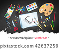 Top view artist workplace vector set 42637259