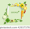 Flat lay Fresh vegetables on green background 42637376