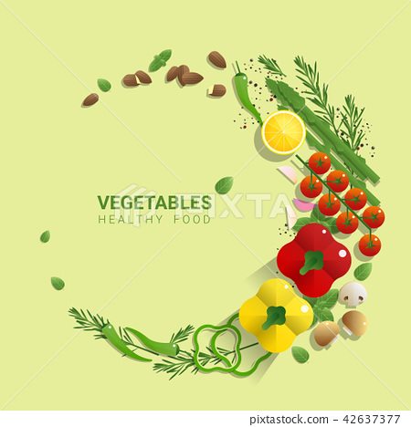 Flat lay Fresh vegetables on green background 42637377