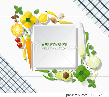 Flat lay Fresh vegetables on white table 42637379