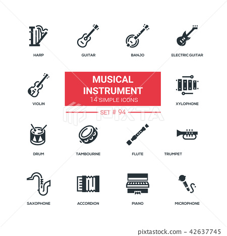 Musical instruments - flat design style icons set 42637745
