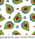 Seamless vector forest pattern with cute color illustrations. 42637830