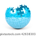Spherical puzzle with missing pieces, 3D Rendering 42638303
