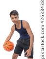Teen sportsman with sportswear playing basketball. White backgro 42638438