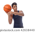 Teen sportsman with sportswear playing basketball. White backgro 42638440
