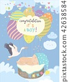 Nice card with stork and baby on blue sky 42638584