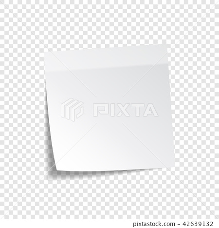 Sticky paper note with tape and shadow isolated on transparent background. Blank. 42639132