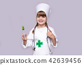 Smiling kid girl playing doctor with syringe  42639456