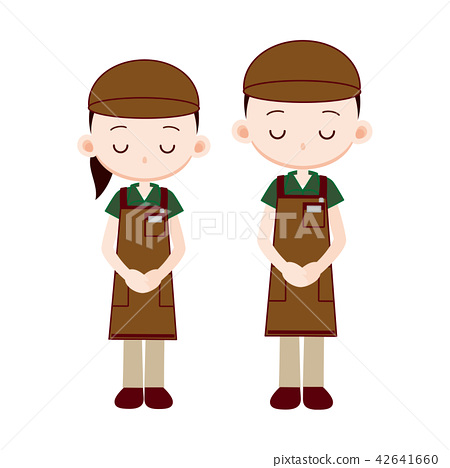 Clerk of a brown work cap · tea apron uniform 42641660