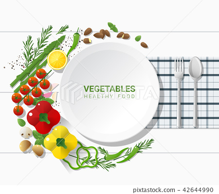 Flat lay Fresh vegetables on white table 42644990