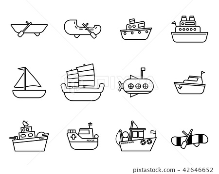 Cartoon simple outline boat in the water 42646652