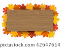wooden sign with autumn maple tree leaves 42647614