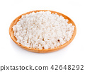 Sea salt in wooden bowl on white background 42648292