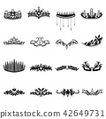Crown Icon Ranking Black and White Set 42649731
