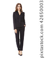 business woman executive posing in designer formal summer pink powder pant suit 42650003