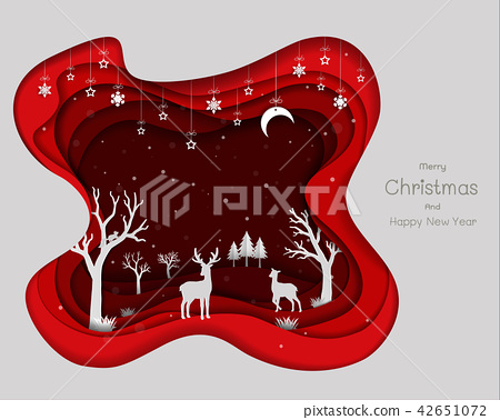 Paper art design with deers family and snowflakes 42651072