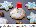 handmade christmas cookies, melted snowman with red hut and snowflake gingerbread 42652690