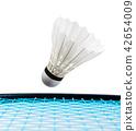 shuttlecock and badminton racket on white. 42654009