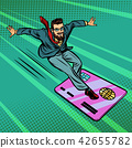 Businessman and Bank card. Extreme sports speed on the Board 42655782
